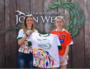 23 June 2018; Kiana Donnelly from Sarsfield GAA Club in Co. Armagh pictured with Roscommon Ladies Footballer Amanda McLoone at the John West Skills Day in the National Sports Campus on Saturday 23rd June. The Skills Day is an opportunity for Ireland's rising football, hurling & camogie stars to show their skills as part of the John West Féile na nÓg and John West Féile na nGael competitions. At the National Sports Campus in Blanchardstown, Dublin. Photo by Seb Daly/Sportsfile