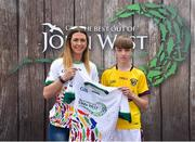 23 June 2018; Ben Power from St Mary's Rosslare GAA Club in Co. Wexford pictured with Roscommon Ladies Footballer Amanda McLoone at the John West Skills Day in the National Sports Campus on Saturday 23rd June. The Skills Day is an opportunity for Ireland's rising football, hurling & camogie stars to show their skills as part of the John West Féile na nÓg and John West Féile na nGael competitions. At the National Sports Campus in Blanchardstown, Dublin. Photo by Seb Daly/Sportsfile