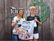 23 June 2018; Daire Madden from Gowna GAA Club in Co. Cavan pictured with Roscommon Ladies Footballer Amanda McLoone at the John West Skills Day in the National Sports Campus on Saturday 23rd June. The Skills Day is an opportunity for Ireland's rising football, hurling & camogie stars to show their skills as part of the John West Féile na nÓg and John West Féile na nGael competitions. At the National Sports Campus in Blanchardstown, Dublin. Photo by Seb Daly/Sportsfile