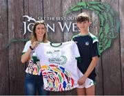 23 June 2018; Paddy Kennedy from Galbally GAA Club in Co. Limerick pictured with Roscommon Ladies Footballer Amanda McLoone at the John West Skills Day in the National Sports Campus on Saturday 23rd June. The Skills Day is an opportunity for Ireland's rising football, hurling & camogie stars to show their skills as part of the John West Féile na nÓg and John West Féile na nGael competitions. At the National Sports Campus in Blanchardstown, Dublin. Photo by Seb Daly/Sportsfile