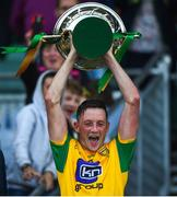 23 June 2018; Donegal captain Danny Cullin lifts the cup following the Nicky Rackard Cup Final match between Donegal and Warwickshire at Croke Park in Dublin. Photo by David Fitzgerald/Sportsfile