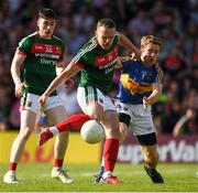 23 June 2018; Andy Moran of Mayo in action against Brian Fox of Tipperary during the GAA Football All-Ireland Senior Championship Round 2 match between Tipperary and Mayo at Semple Stadium in Thurles, Tipperary. Photo by Ray McManus/Sportsfile
