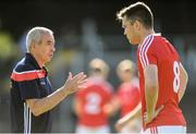 23 June 2018; Louth manager Pete McGrath in conversation with Andy McDonnell ahead of the GAA Football All-Ireland Senior Championship Round 2 match between Leitrim and Louth at Páirc Seán Mac Diarmada in Carrick-on-Shannon, Co. Leitrim. Photo by Ramsey Cardy/Sportsfile