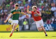 23 June 2018; David Clifford of Kerry in action against Ruairi Deane of Cork during the Munster GAA Football Senior Championship Final match between Cork and Kerry at Páirc Ui Chaoimh in Cork. Photo by Stephen McCarthy/Sportsfile
