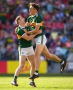 23 June 2018; Stephen O'Brien, left, celebrates with his Kerry team-mate David Clifford after after scoring his side's first goal during the Munster GAA Football Senior Championship Final match between Cork and Kerry at Páirc Ui Chaoimh in Cork. Photo by Stephen McCarthy/Sportsfile