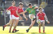 23 June 2018; Darragh Rooney of Leitrim haas a shot blocked by Darren Marks, left, and Derek Maguire of Louth during the GAA Football All-Ireland Senior Championship Round 2 match between Leitrim and Louth at Páirc Seán Mac Diarmada in Carrick-on-Shannon, Co. Leitrim. Photo by Ramsey Cardy/Sportsfile