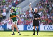23 June 2018; Stephen O'Brien of Kerry receives a black card from referee Ciaran Branagan during the Munster GAA Football Senior Championship Final match between Cork and Kerry at Páirc Ui Chaoimh in Cork. Photo by Stephen McCarthy/Sportsfile