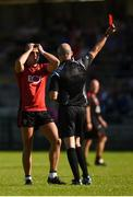 23 June 2018; Referee Cormac Reilly shows the red card to Ryan Johnston of Down during the GAA Football All-Ireland Senior Championship Round 2 match between Cavan and Down at Brewster Park in Enniskillen, Co. Fermanagh. Photo by Barry Cregg/Sportsfile