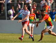 23 June 2018; Aidan McCrory of Tyrone in action against Daniel St Ledger of Carlow during the GAA Football All-Ireland Senior Championship Round 2 match between Carlow and Tyrone at Netwatch Cullen Park in Carlow. Photo by Matt Browne/Sportsfile