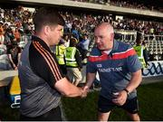 23 June 2018; Kerry manager Eamonn Fitzmaurice, left, and Cork manager Ronan McCarthy following the Munster GAA Football Senior Championship Final match between Cork and Kerry at Páirc Ui Chaoimh in Cork. Photo by Stephen McCarthy/Sportsfile
