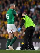 23 June 2018; Rob Kearney of Ireland is attened to by team doctor Dr. Ciaran Cosgrave during the 2018 Mitsubishi Estate Ireland Series 3rd Test match between Australia and Ireland at Allianz Stadium in Sydney, Australia. Photo by Brendan Moran/Sportsfile