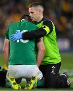 23 June 2018; Jonathan Sexton of Ireland is attended to by team doctor Dr. Ciaran Cosgrave during the 2018 Mitsubishi Estate Ireland Series 3rd Test match between Australia and Ireland at Allianz Stadium in Sydney, Australia. Photo by Brendan Moran/Sportsfile