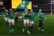 23 June 2018; Ireland players, from left, Robbie Henshaw, Jacob Stockdale, Kieran Marmion and Andrew Porter celebrate after the 2018 Mitsubishi Estate Ireland Series 3rd Test match between Australia and Ireland at Allianz Stadium in Sydney, Australia. Photo by Brendan Moran/Sportsfile