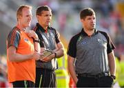 23 June 2018; Kerry manager Eamonn Fitzmaurice, right, with selectors Liam Hassett, left, and Maurice Fitzgerald during the Munster GAA Football Senior Championship Final match between Cork and Kerry at Páirc Ui Chaoimh in Cork. Photo by Stephen McCarthy/Sportsfile
