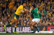 23 June 2018; Bundee Aki of Ireland is tackled by Kurtley Beale of Australia during the 2018 Mitsubishi Estate Ireland Series 3rd Test match between Australia and Ireland at Allianz Stadium in Sydney, Australia. Photo by Brendan Moran/Sportsfile
