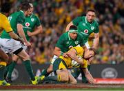 23 June 2018; Dane Haylett-Petty of Australia is tackled by CJ Stander of Ireland during the 2018 Mitsubishi Estate Ireland Series 3rd Test match between Australia and Ireland at Allianz Stadium in Sydney, Australia. Photo by Brendan Moran/Sportsfile