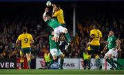 23 June 2018; Peter O'Mahony of Ireland is tackled in the air by Israel Folau of Australia during the 2018 Mitsubishi Estate Ireland Series 3rd Test match between Australia and Ireland at Allianz Stadium in Sydney, Australia. Photo by Brendan Moran/Sportsfile