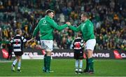 23 June 2018; Ireland captain Peter O'Mahony, left, and team-mate Jack McGrath run out together on the occasion of both earning their 50th cap for Ireland prior to the 2018 Mitsubishi Estate Ireland Series 3rd Test match between Australia and Ireland at Allianz Stadium in Sydney, Australia. Photo by Brendan Moran/Sportsfile