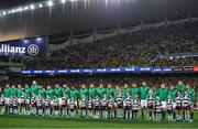 23 June 2018; The Ireland squad line up for the national anthems prior to the 2018 Mitsubishi Estate Ireland Series 3rd Test match between Australia and Ireland at Allianz Stadium in Sydney, Australia. Photo by Brendan Moran/Sportsfile