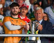 23 June 2018; Kerry captain Shane Murphy is presented with the cup by Munster GAA Chairman Jerry O'Sullivan during the Munster GAA Football Senior Championship Final match between Cork and Kerry at Páirc Ui Chaoimh in Cork. Photo by Stephen McCarthy/Sportsfile