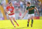 23 June 2018; Paul Kerrigan of Cork and David Moran of Kerry during the Munster GAA Football Senior Championship Final match between Cork and Kerry at Páirc Ui Chaoimh in Cork. Photo by Stephen McCarthy/Sportsfile