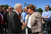 24 June 2018; Ulster GAA President Michael Hasson and DUP leader Arlene Foster prior to the Ulster GAA Football Senior Championship Final match between Donegal and Fermanagh at St Tiernach's Park in Clones, Monaghan. Photo by Ramsey Cardy/Sportsfile
