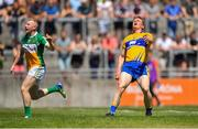 24 June 2018; Pearse Lillis of Clare reacts to missing a shoot under pressure from Niall Darby of Offaly during the GAA Football All-Ireland Senior Championship Round 2 match between Offaly and Clare at Bord Na Mona O'Connor Park in Tullamore, Offaly. Photo by Harry Murphy/Sportsfile