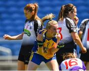 24 June 2018; Laura Fleming of Roscommon celebrates after scoring her side's first goal of the game during the TG4 Connacht Ladies Intermediate Football Final match between Sligo and Roscommon at Elvery's MacHale Park in Castlebar, Mayo. Photo by Seb Daly/Sportsfile