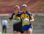 24 June 2018; Jenny Higgins of Roscommon in action against Sinead Regan of Sligo during the TG4 Connacht Ladies Intermediate Football Final match between Sligo and Roscommon at Elvery's MacHale Park in Castlebar, Mayo. Photo by Seb Daly/Sportsfile