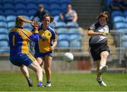 24 June 2018; Katie Walsh of Sligo sees her shot saved by Helena Cummins of Roscommon during the TG4 Connacht Ladies Intermediate Football Final match between Sligo and Roscommon at Elvery's MacHale Park in Castlebar, Mayo. Photo by Seb Daly/Sportsfile