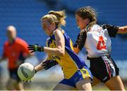 24 June 2018; Laura Fleming of Roscommon in action against Claire Dunne of Sligo during the TG4 Connacht Ladies Intermediate Football Final match between Sligo and Roscommon at Elvery's MacHale Park in Castlebar, Mayo. Photo by Seb Daly/Sportsfile