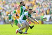 24 June 2018; Ciaran Thompson of Donegal has a shot at goal charged down by Seamus Quigley and Barry Mulrone of Fermanagh  during the Ulster GAA Football Senior Championship Final match between Donegal and Fermanagh at St Tiernach's Park in Clones, Monaghan. Photo by Ramsey Cardy/Sportsfile
