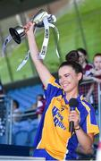 24 June 2018; Roscommon captain Sinead Kenny lifts the trophy following her side's victory during the TG4 Connacht Ladies Intermediate Football Final match between Sligo and Roscommon at Elvery's MacHale Park in Castlebar, Mayo. Photo by Seb Daly/Sportsfile