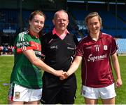 24 June 2018; Captains Sarah Tierney of Mayo, left, and Tracey Leonard of Galway with referee Gerry Carmody prior to the TG4 Connacht Ladies Senior Football Final match between Mayo and Galway at Elvery's MacHale Park in Castlebar, Mayo. Photo by Seb Daly/Sportsfile