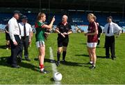 24 June 2018; Referee Gerry Carmody with captains Sarah Tierney of Mayo, left, and Tracey Leonard of Galway during the coin toss prior to the TG4 Connacht Ladies Senior Football Final match between Mayo and Galway at Elvery's MacHale Park in Castlebar, Mayo. Photo by Seb Daly/Sportsfile