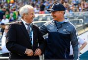 24 June 2018; Dublin manager Jim Gavin with Croke Park Senior Steward Michael Leddy prior to the Leinster GAA Football Senior Championship Final match between Dublin and Laois at Croke Park in Dublin. Photo by Stephen McCarthy/Sportsfile