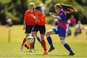 24 June 2018; Jane Treahy of Galway in action against Ciara McManus of Midlands during the U16 Gaynor Cup Final match between Midlands League and Galway League on Day 2 of the Fota Island Resort Gaynor Tournament at the University of Limerick in Limerick. Photo by Eóin Noonan/Sportsfile
