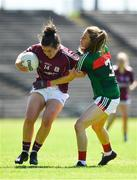 24 June 2018; Roisin Leonard of Galway in action against Sarah Tierney of Mayo during the TG4 Connacht Ladies Senior Football Final match between Mayo and Galway at Elvery's MacHale Park in Castlebar, Mayo. Photo by Seb Daly/Sportsfile