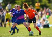 24 June 2018; Kate Slevin of Galway in action against Katelyn Keogh of Midlands during the U16 Gaynor Cup Final match between Midlands League and Galway League on Day 2 of the Fota Island Resort Gaynor Tournament at the University of Limerick in Limerick. Photo by Eóin Noonan/Sportsfile