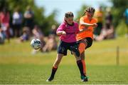 24 June 2018; Freya De Mange of Kilkenny in action against Olivia Kilackey of Midlands during the U14 Gaynor Cup Final match between Kilkenny League and Midlands League on Day 2 of the Fota Island Resort Gaynor Tournament at the University of Limerick in Limerick. Photo by Eóin Noonan/Sportsfile