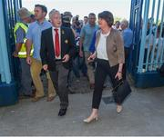 24 June 2018; Democratic Unionist Party (DUP) leader Arlene Foster arriving at St Tiernach's Park with Michael Hasson,  President of the Ulster Council, prior to the Ulster GAA Football Senior Championship Final match between Donegal and Fermanagh at St Tiernach's Park in Clones, Monaghan. Photo by Philip Fitzpatrick/Sportsfile