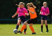 24 June 2018; Cayla Fletcher of Midlands in action against Ellen Lawlor of Kilkenny during the U14 Gaynor Cup Final match between Kilkenny League and Midlands League on Day 2 of the Fota Island Resort Gaynor Tournament at the University of Limerick in Limerick. Photo by Eóin Noonan/Sportsfile