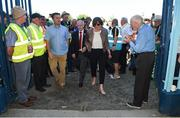 24 June 2018; DUP leader Arlene Foster arrives for the Ulster GAA Football Senior Championship Final match between Donegal and Fermanagh at St Tiernach's Park in Clones, Monaghan. Photo by Oliver McVeigh/Sportsfile