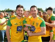 24 June 2018; Ryan McHugh, left, and Mark McHugh of Donegal with his son Noah, age 1, after the Ulster GAA Football Senior Championship Final match between Donegal and Fermanagh at St Tiernach's Park in Clones, Monaghan. Photo by Oliver McVeigh/Sportsfile