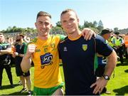 24 June 2018; Patrick McBrearty, left, and Neil McGee of Donegal after the Ulster GAA Football Senior Championship Final match between Donegal and Fermanagh at St Tiernach's Park in Clones, Monaghan. Photo by Oliver McVeigh/Sportsfile