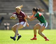 24 June 2018; Tracey Leonard of Galway in action against Rachel Kearns of Mayo during the TG4 Connacht Ladies Senior Football Final match between Mayo and Galway at Elvery's MacHale Park in Castlebar, Mayo. Photo by Seb Daly/Sportsfile