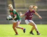 24 June 2018; Fiona McHale of Mayo in action against Caitriona Cormican of Galway during the TG4 Connacht Ladies Senior Football Final match between Mayo and Galway at Elvery's MacHale Park in Castlebar, Mayo. Photo by Seb Daly/Sportsfile