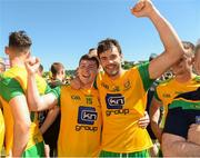 24 June 2018; Jamie Brennan, left, and Odhran MacNiallais of Donegal celebrate after the Ulster GAA Football Senior Championship Final match between Donegal and Fermanagh at St Tiernach's Park in Clones, Monaghan. Photo by Oliver McVeigh/Sportsfile