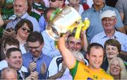 24 June 2018; DUP leader Arlene Foster watches Donegal captain Michael Murphy lift the Anglo Celt Cup following the Ulster GAA Football Senior Championship Final match between Donegal and Fermanagh at St Tiernach's Park in Clones, Monaghan. Photo by Ramsey Cardy/Sportsfile