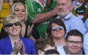 24 June 2018; Heather Humphreys T.D, Sinn Fein MLA Michelle O'Neill with DUP leader Arlene Foster and Ard Stiúrthóir of the GAA Tom Ryan, on the right, during the Ulster GAA Football Senior Championship Final match between Donegal and Fermanagh at St Tiernach's Park in Clones, Monaghan. Photo by Ramsey Cardy/Sportsfile
